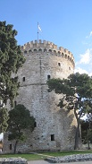 thessaloniki-white tower-trees-flag
